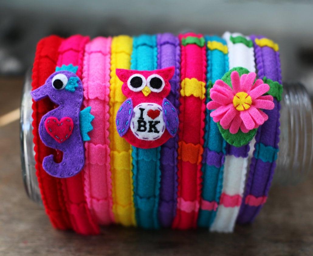 Headband Create Custom customizable interchangeable colorful felt hair clip - BrooklynOwl
