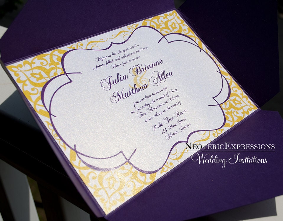 Wedding Invitation Purple and Yellow Metallic Pochette
