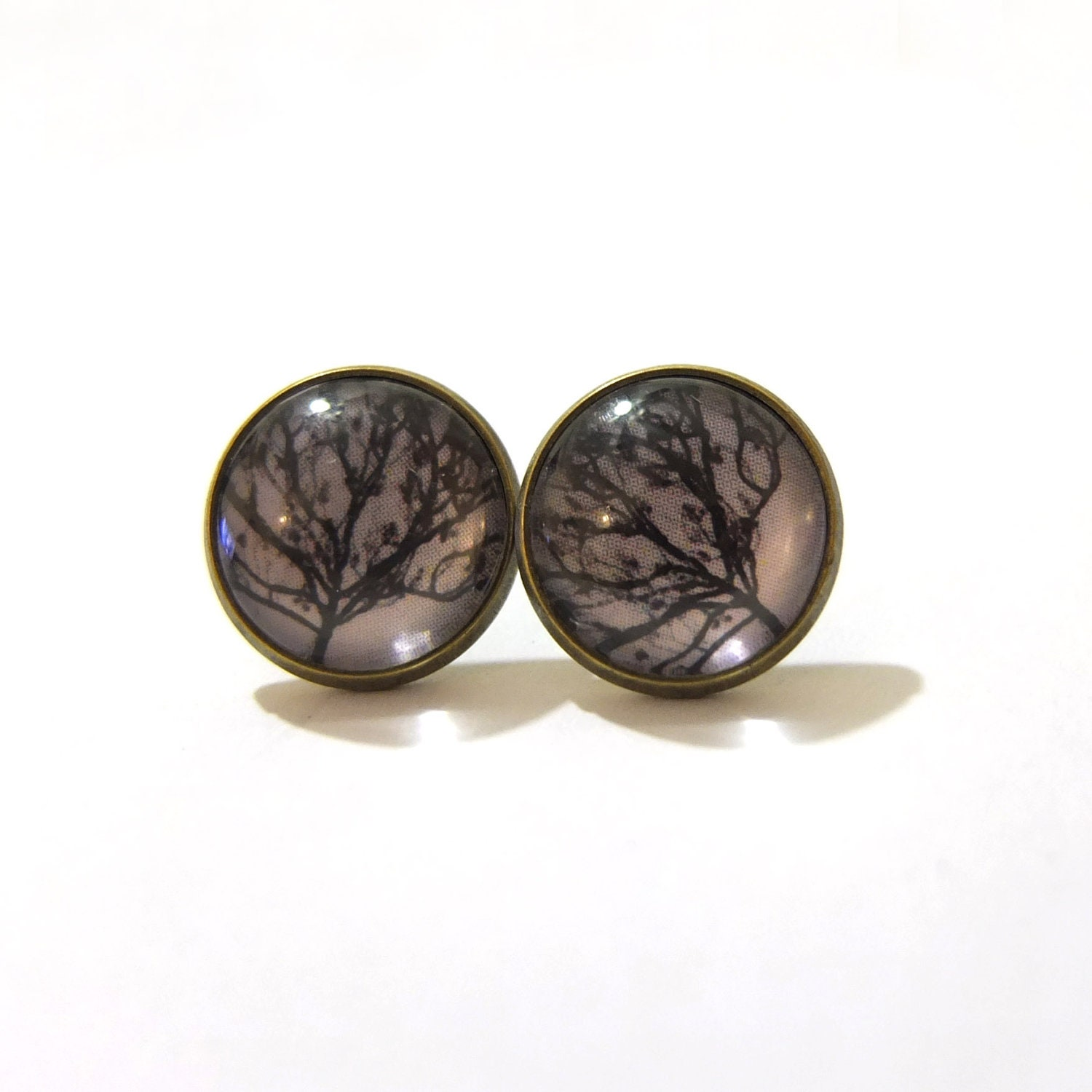 Stud Earrings - Willow Tree,Brown, Fall, Winter, Tree Silhouette, Nature, Bronze, Post Earrings, Earrings Stud, Simple, Modern, Chic