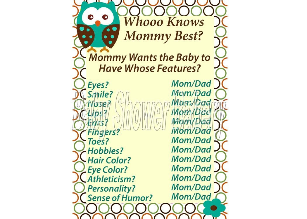 free printable baby shower games who knows mommy the best www