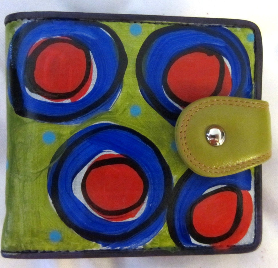 Hand Painted Leather Wallet  card holder in Green Blue Red