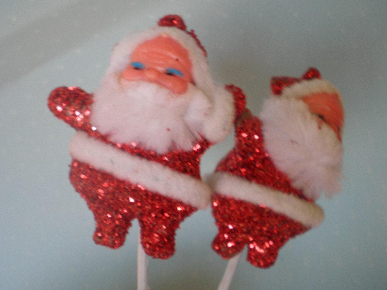 Vintage Glitter Santa Claus Pick