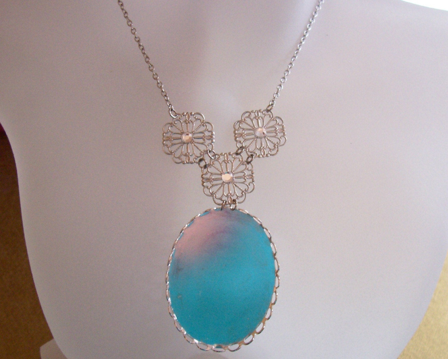DIY -- The Edwardian Collection - Fancy Shaped Filigree Silver Y Necklace with Swarovski Crystals - For Your 40x30mm Cameo or Cabochon - Customize It - (ALEXANDRA)