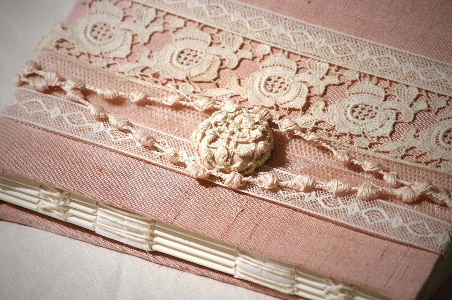 Guest Book - Rose Dust - Lace Wedding Guest Book, Ivory Lace and Pink Cream Pearls Embroidery on Netting Lace, Personalize, Handmade