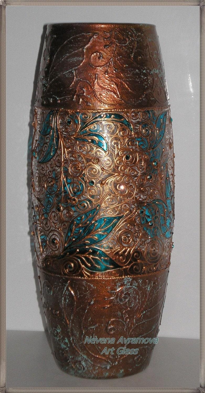Медь и бирюзовый Ручная роспись вазы