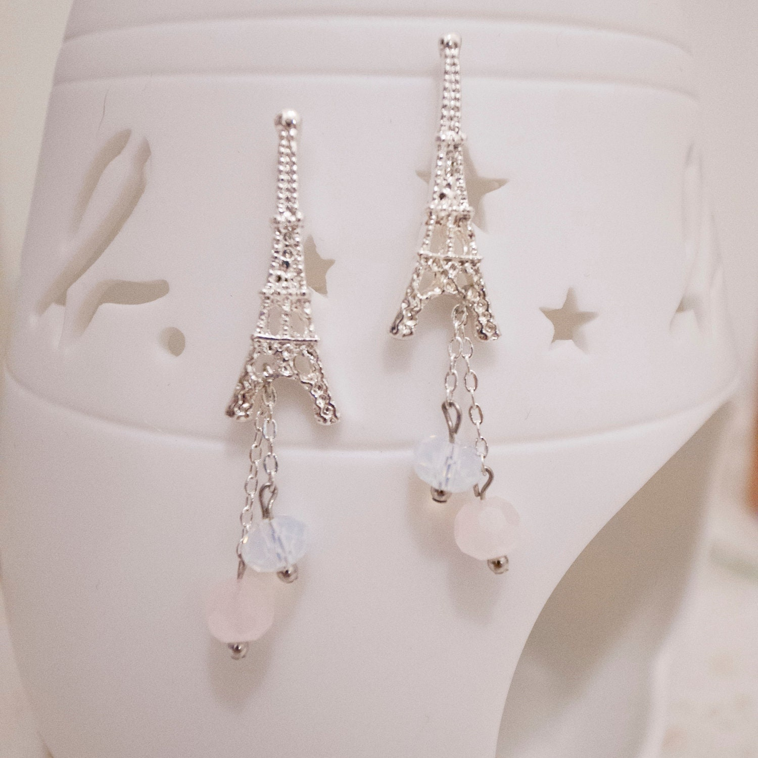 Romantic Silver Plated Eiffel Tower with Swarovski Crystal Earrings