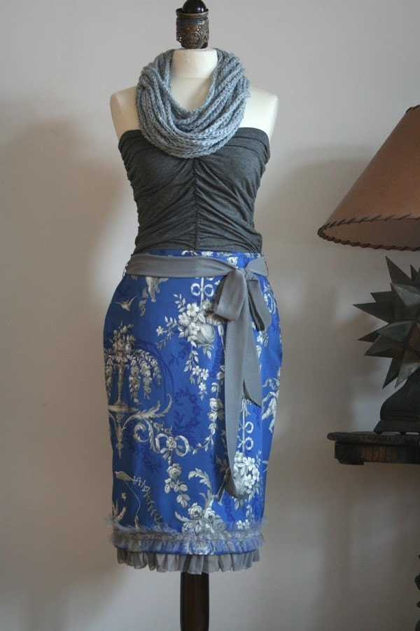 BLUE MOON in PENCIL SKIRT ELECTRIC BLUE TOILE with greys and creams RUFFLES AND LACE
