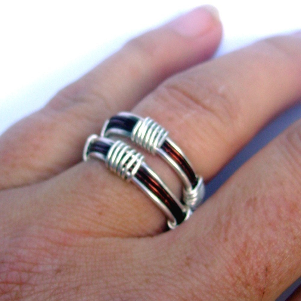 Silver and Copper - Adjustable Wire Wrapped RIng