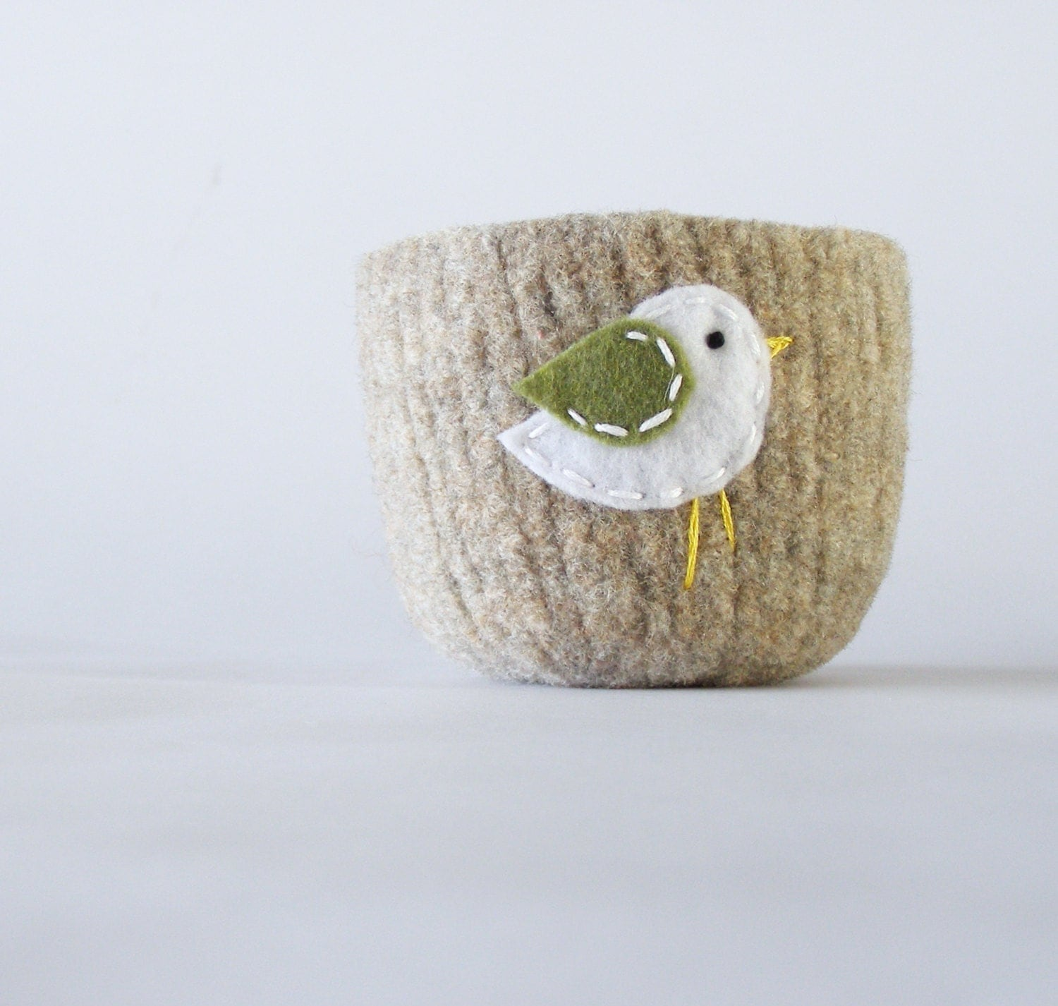 felted bowl - beige wool bowl with sage green and white bird -  spring inspired container for jewelry or air plants - theFelterie