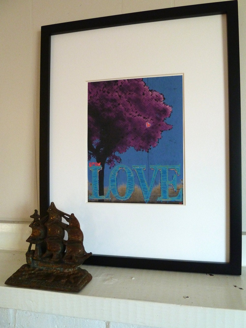 Wall Art Typography PRINT, Inspirational Wall Art PRINT, Grow Love Tree PRINT in Fuschia and Blue- Valentine's Day Gift
