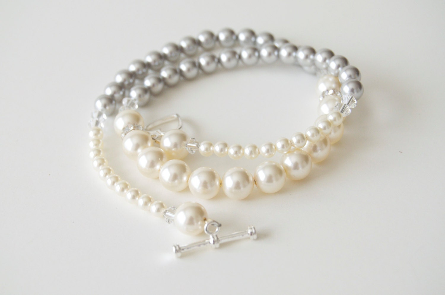 Swarovski Pearl and Crystal Necklace- Gray and Cream - Princess Length - jubilantrendezvous