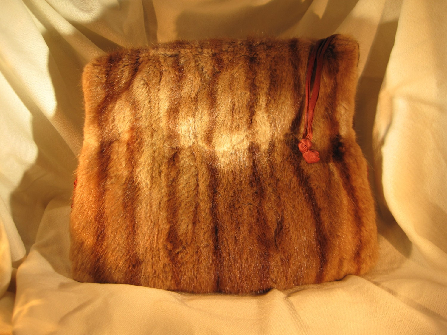 Gorgeous Vintage Brown Real Fur Muff and Purse, Mink(?) with Satin Trim 1930's/40's - LaughingTreeVintage