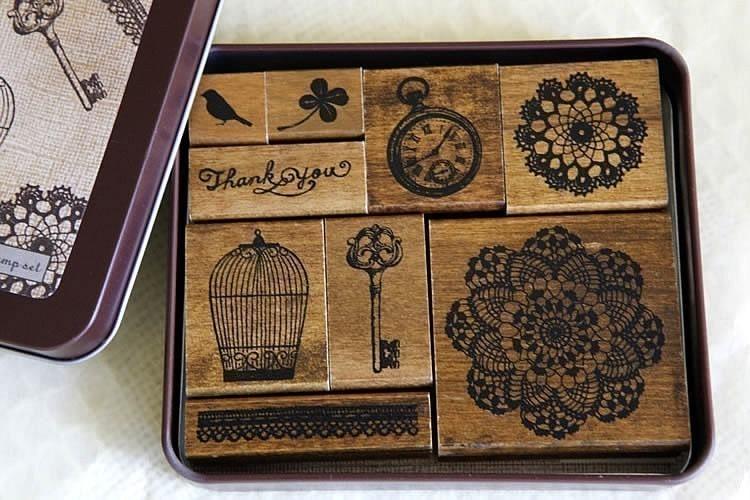 Margaret Stamp Set - Bird-Cage-Lace-Key Vintage Style