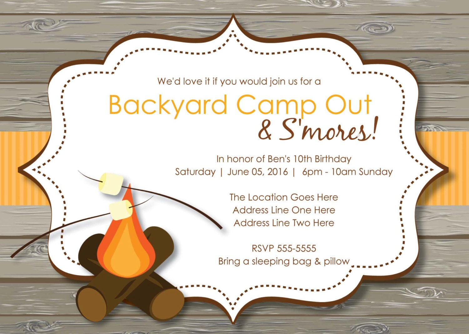 Campout Birthday Party Invitations with adorable invitations template