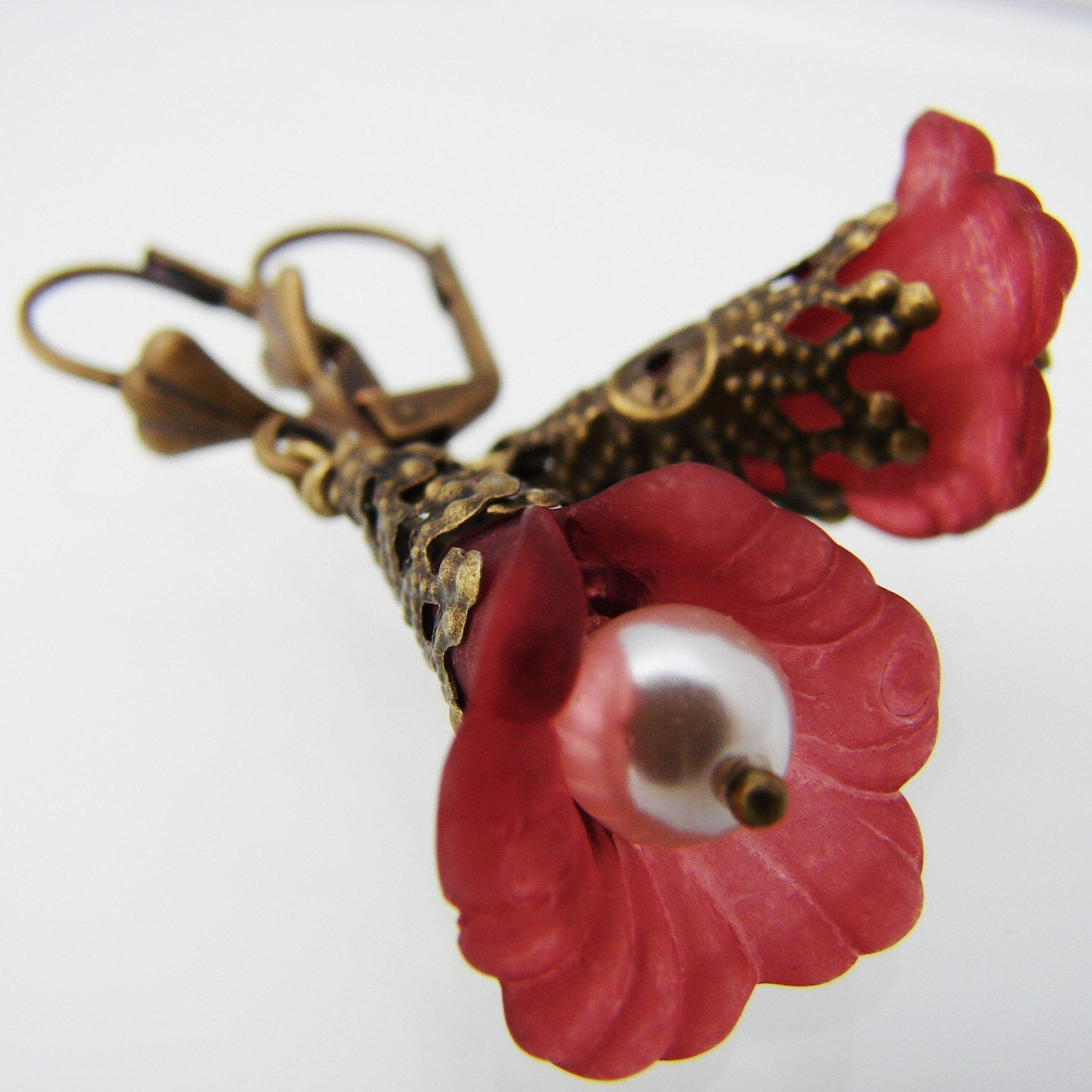 Merlot Lucite Flower Earrings on antiqued brass earwires
