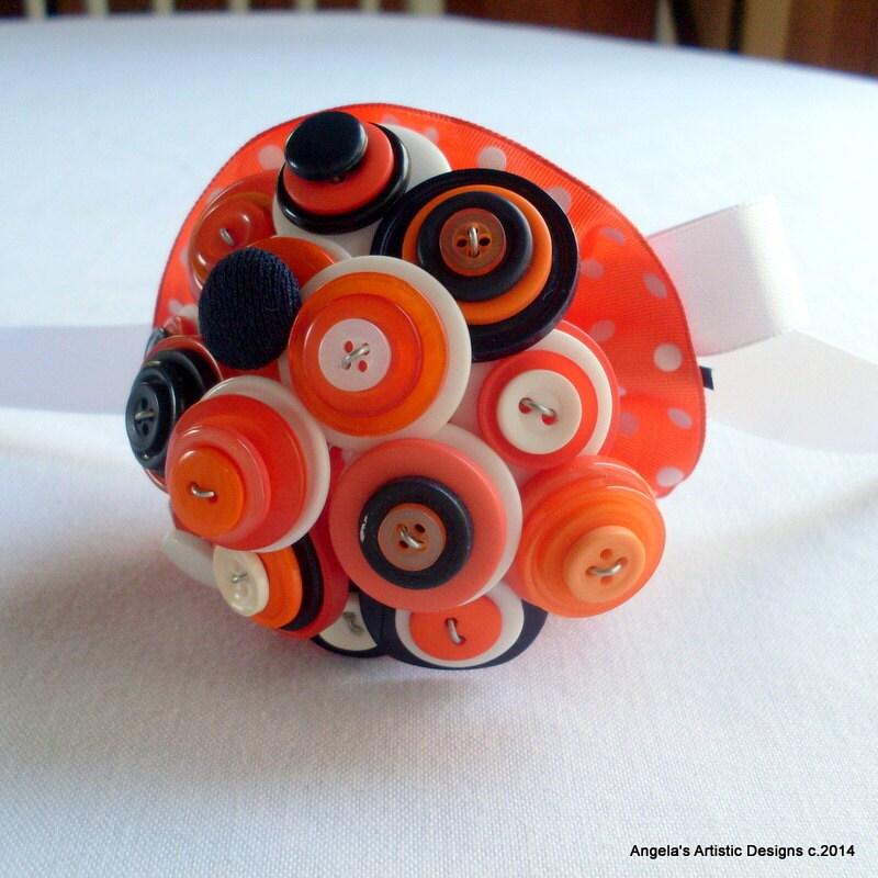 Mini Button Bouquet, Orange toss bouquet, flower girl, nosegay, posy - AngelasArtistic