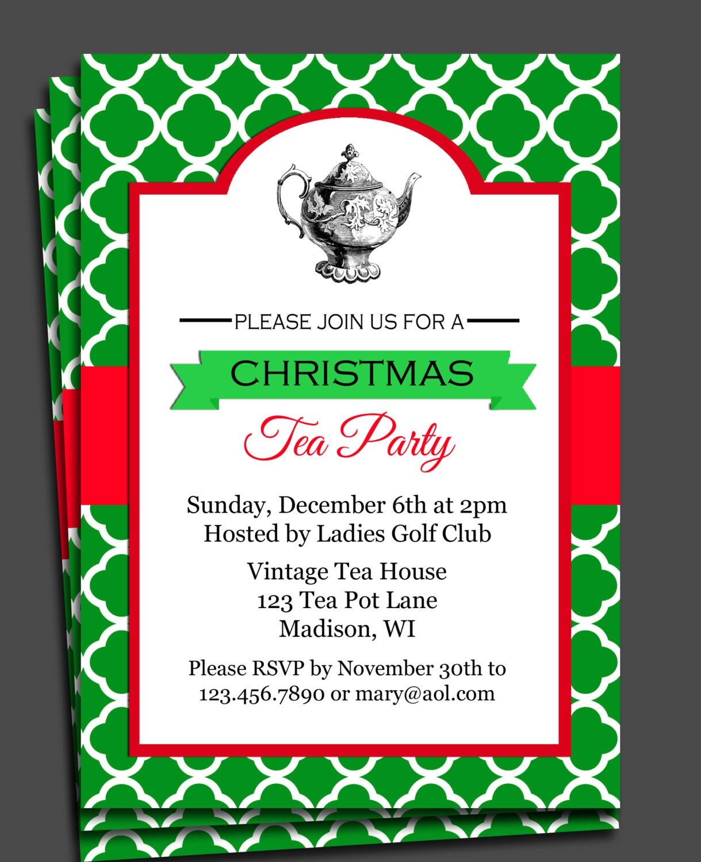 items similar to christmas tea party invitation printable