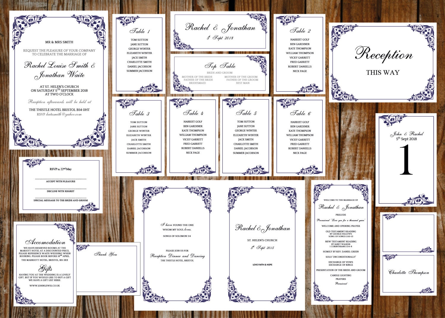 Wedding template set  (Flora) blue DOWNLOAD PRINTABLE Microsoft word templates invite RSVP program table plan table numbers and more