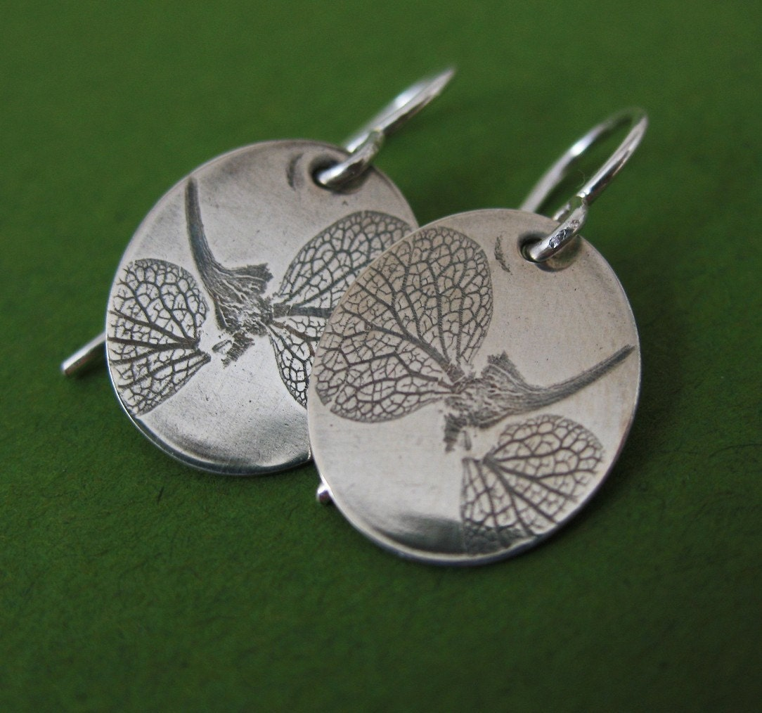 Pressed Hydrangea Petals, Preserved Nature Earrings
