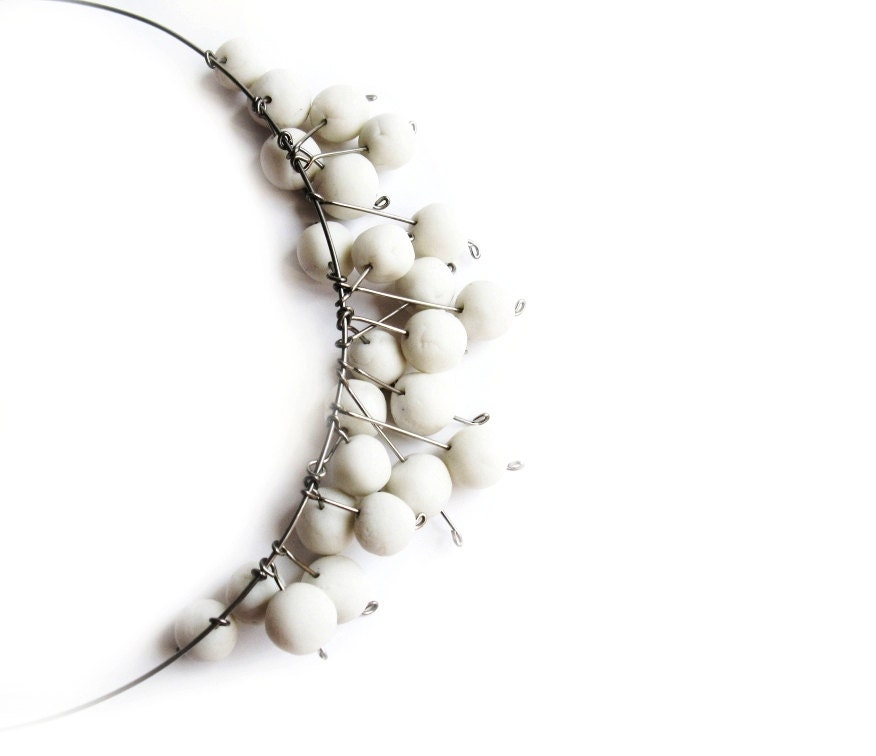 White porcelain bead necklace with stainless steel modern bridal or wedding jewelry Kluka - ProjektMosko