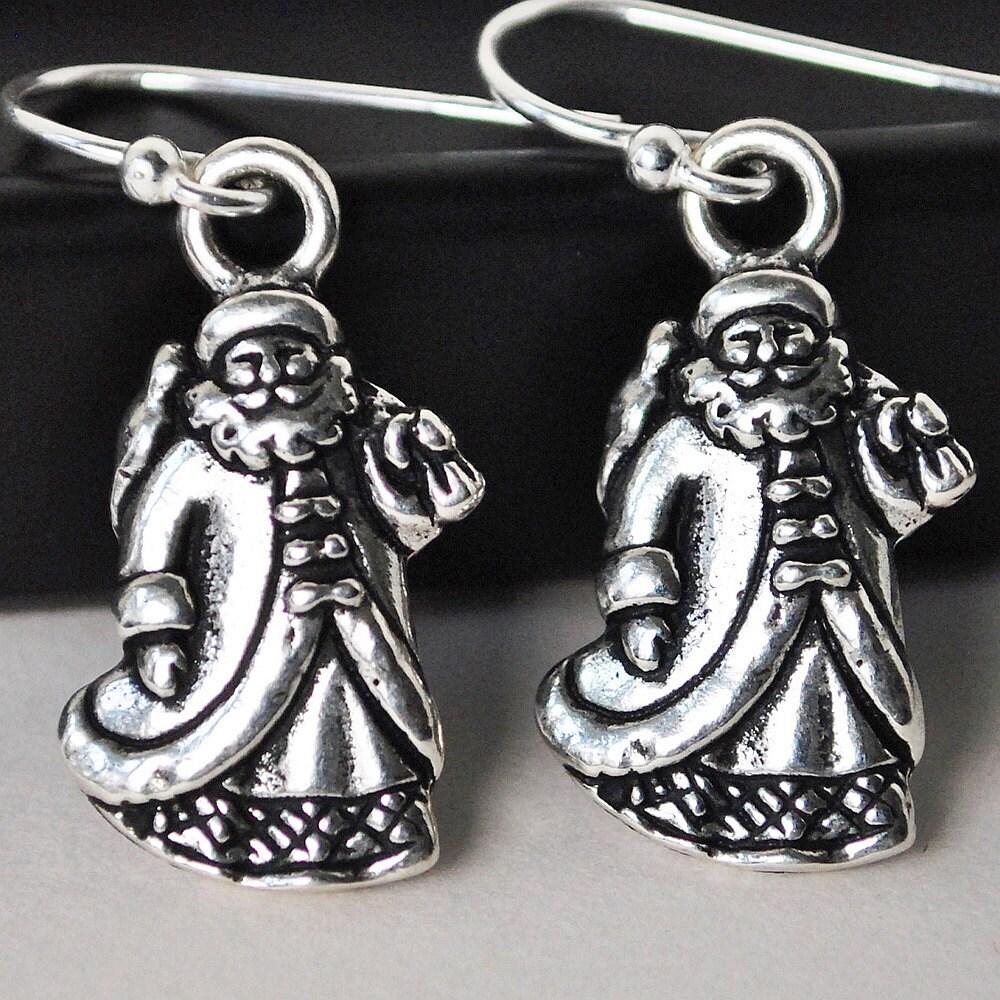Santa Earrings, Silver Christmas Earrings, Drop Earrings, Dangle Earrings, Sterling Silver Handmade Jewelry