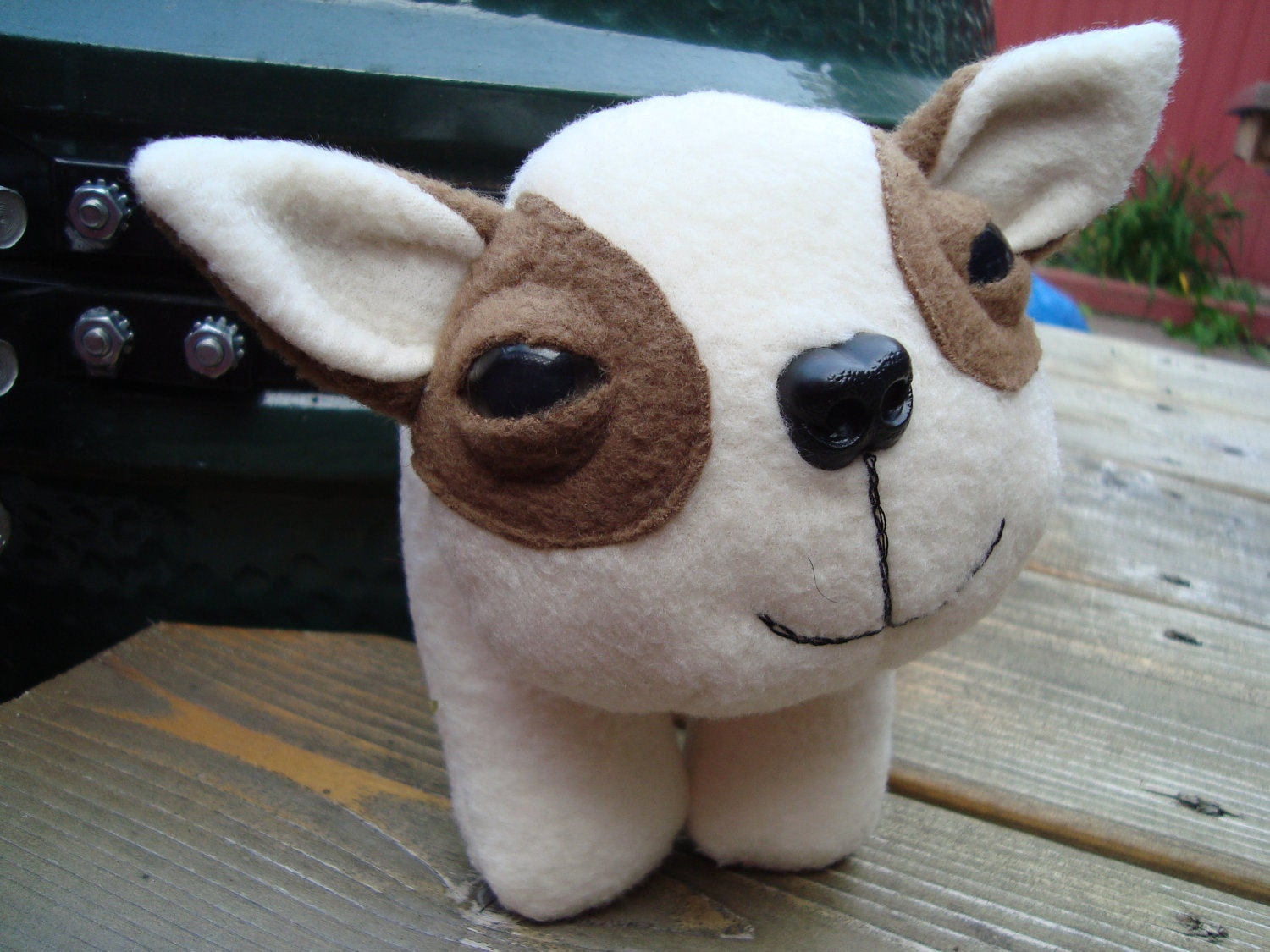 stuffed animal plush puppy dog in white and light brown fleece - Puff