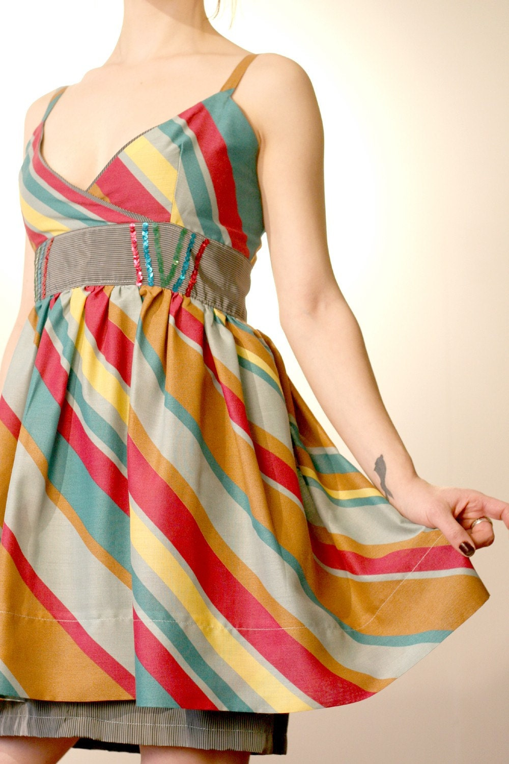 Ambitious Rainbow Dress with Sequins