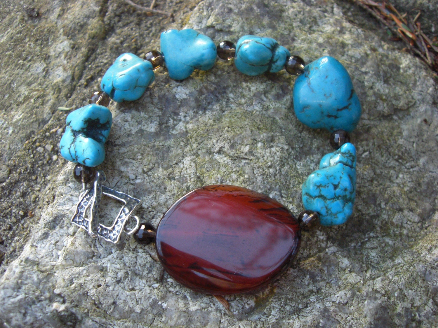 BLUE COVE BRACELET, TURQUOISE NUGGETS, SMOKEY QUARTZ, BOLD CARNELIAN STONE WITH HAMMERED SILVER TOGGLE