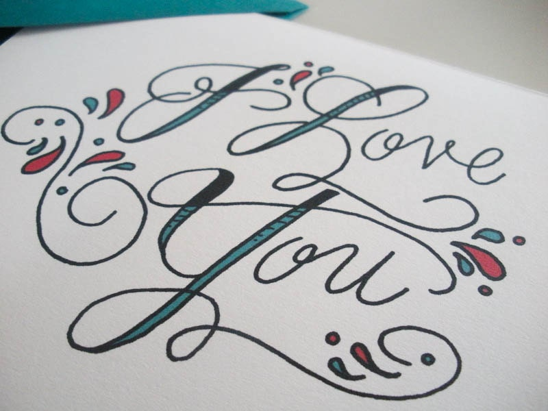 I love you tattoo script card by fayeandco on etsy