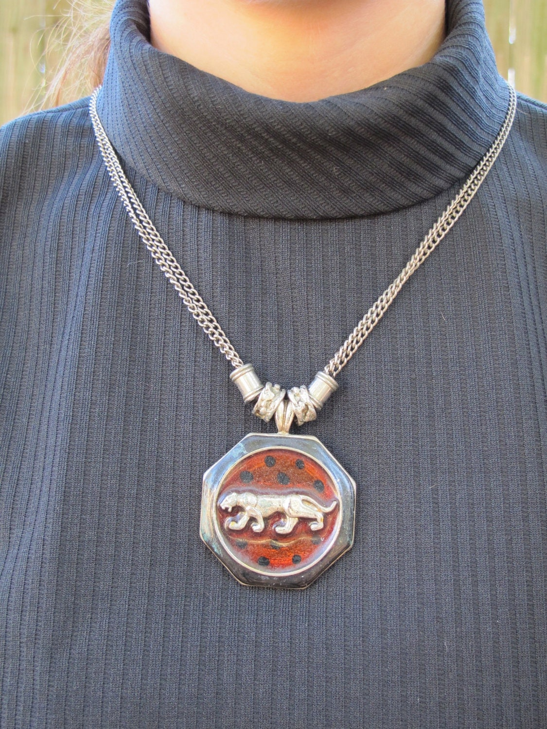 items similar to vintage 70s 80s panther necklace disco