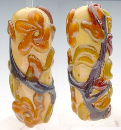 Floral Focal Sepia Glass Bead