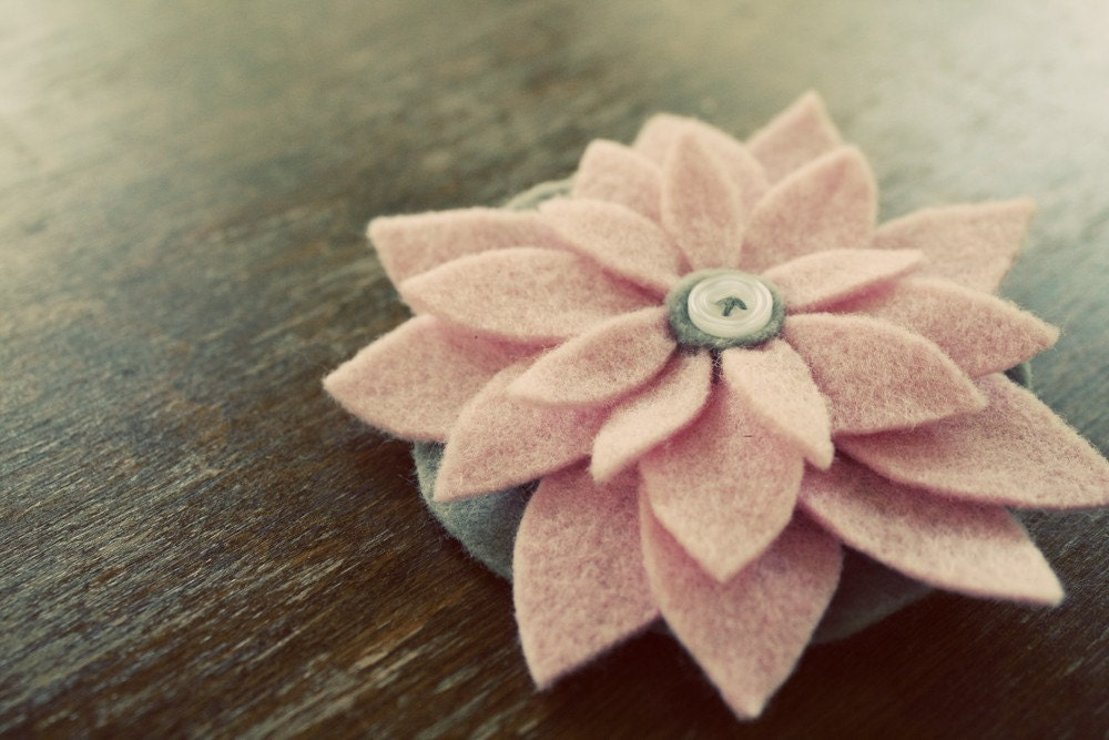 Blossom Brooch - Pink and Gray - YART SALE