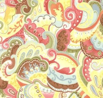 Chez Moi Posh fabric Mocha Yellow Ribbon and Floral Paisley 1 yard