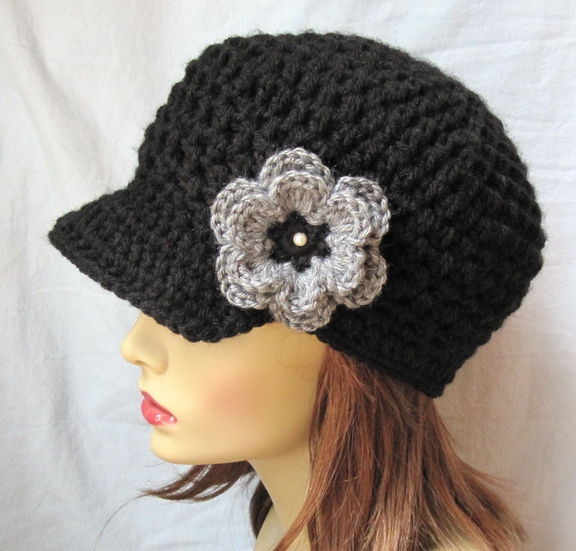 Womens Hat, Medium - Large Teen / Adult Newsboy, Black, Gray, Pearl, Removable Flower Pin Brooch, Jewelry, Wedding Gifts, Birthday Gifts, Photo Prop, Handmade by jadeexpressions on Etsy- JE148NML