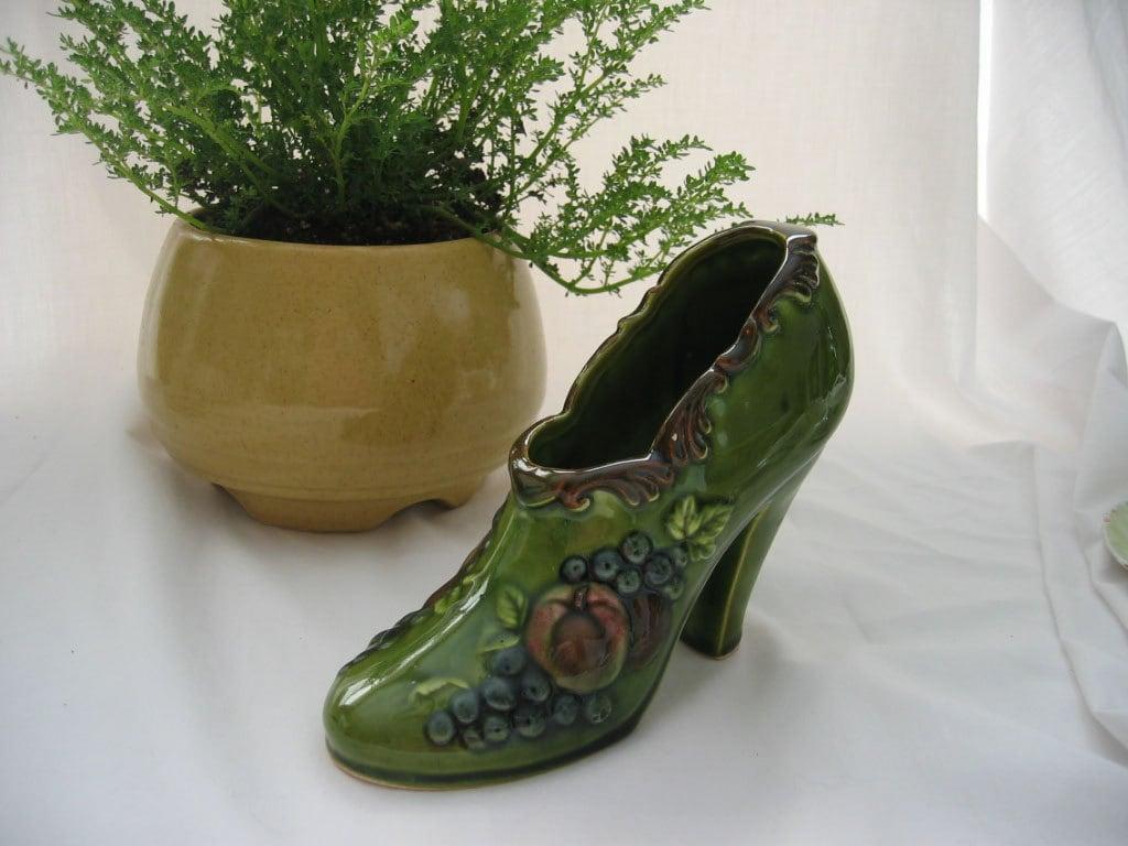 1970s high heel shoe planter green ceramic by chickweedcache