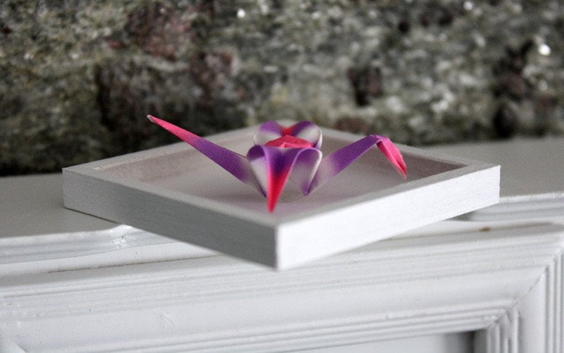 "Miniature Origami Paper Wall Art, ""The Crane"" Shadowbox Framed in White 1:12 Scale Dollhouses"