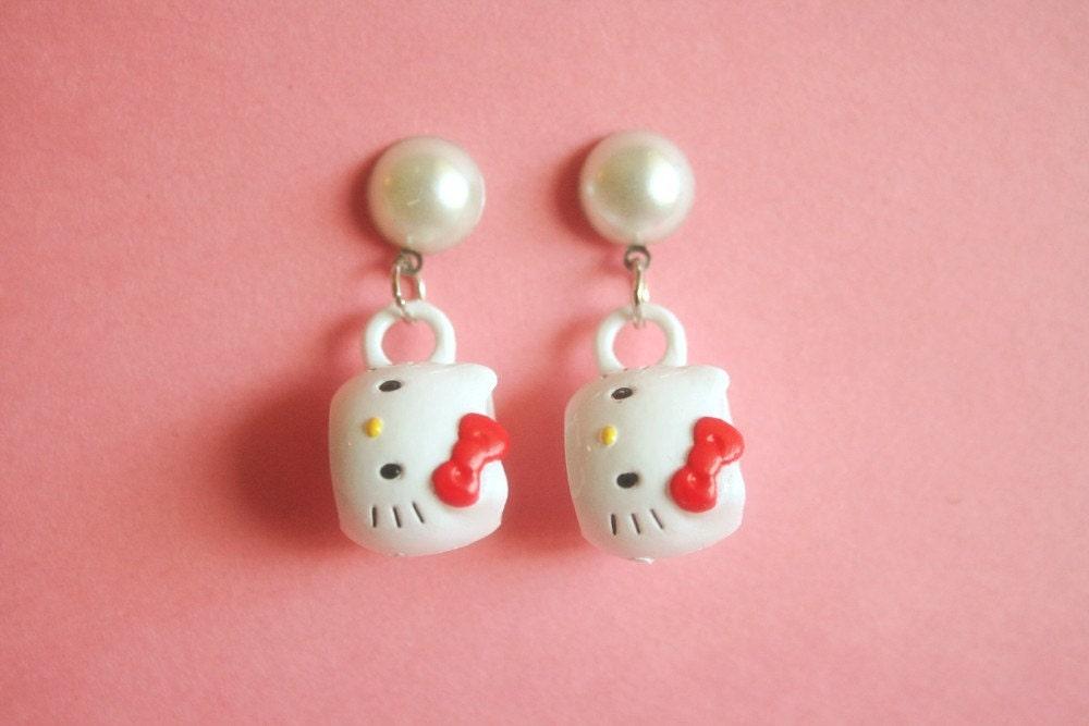 Hello Kitty mug earrings