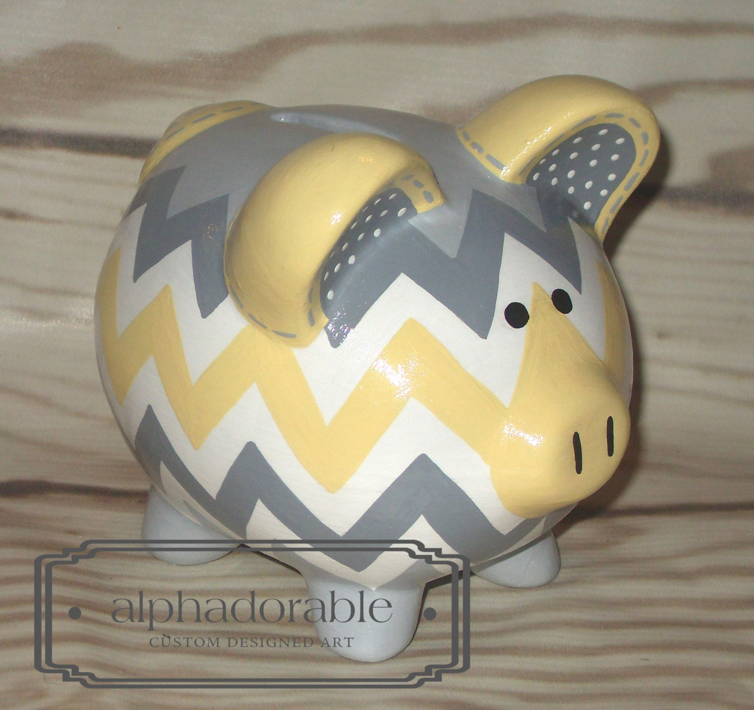 Small yellow grey chevron artisan hand painted by alphadorable for How to paint a ceramic piggy bank