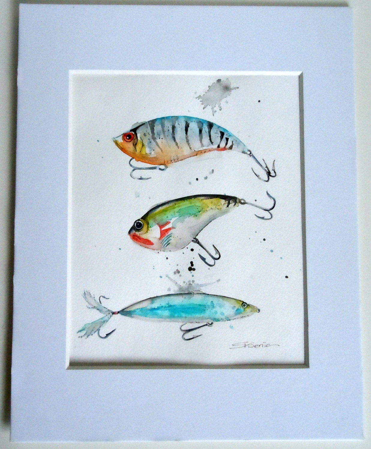 Fishing lures art print kid 39 s room cabin art by for Fishing lure paint