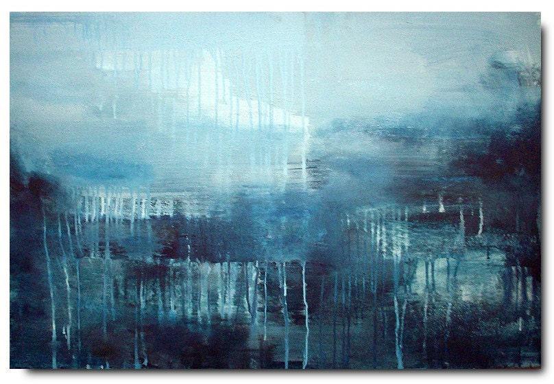 OCEAN RAIN . original abstract painting 36x24 / ELSTON