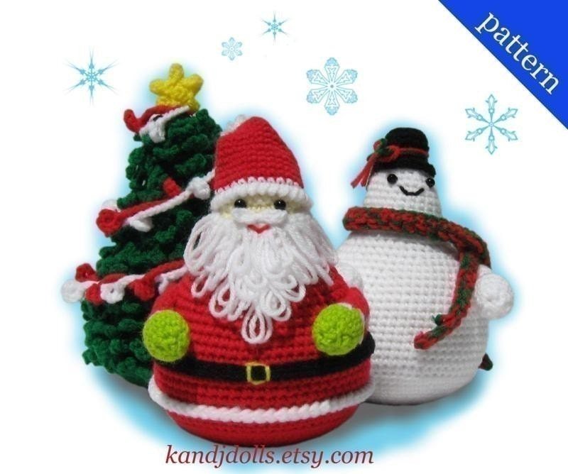 3 Christmas Patterns - Santa Claus, Snowman and Christmas Tree - PDF Amigurumi