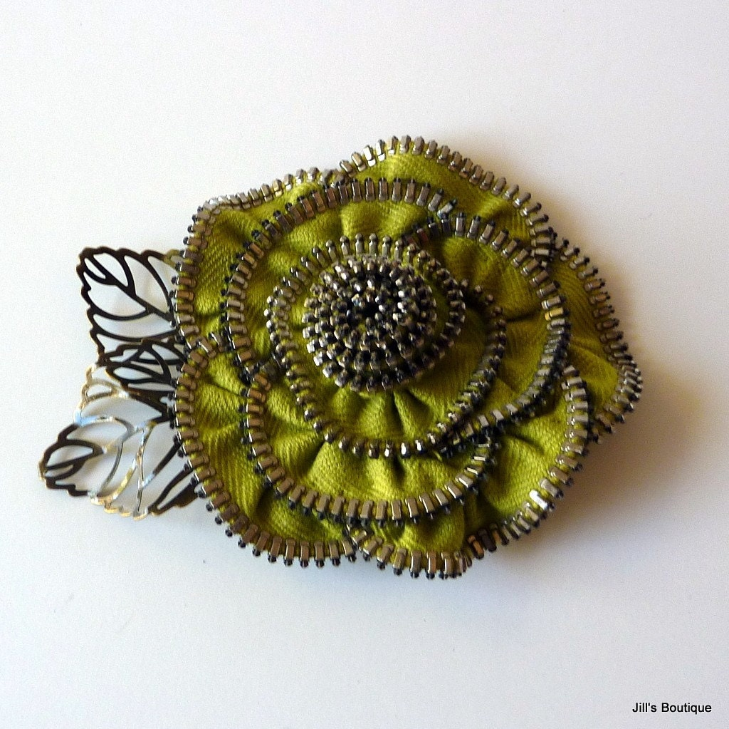 Sweet Pear Zipper Rose Brooch Pin