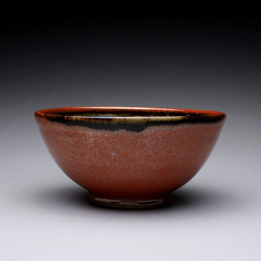 handmade pottery bowl, soup bowl with iron red and green celadon glazes