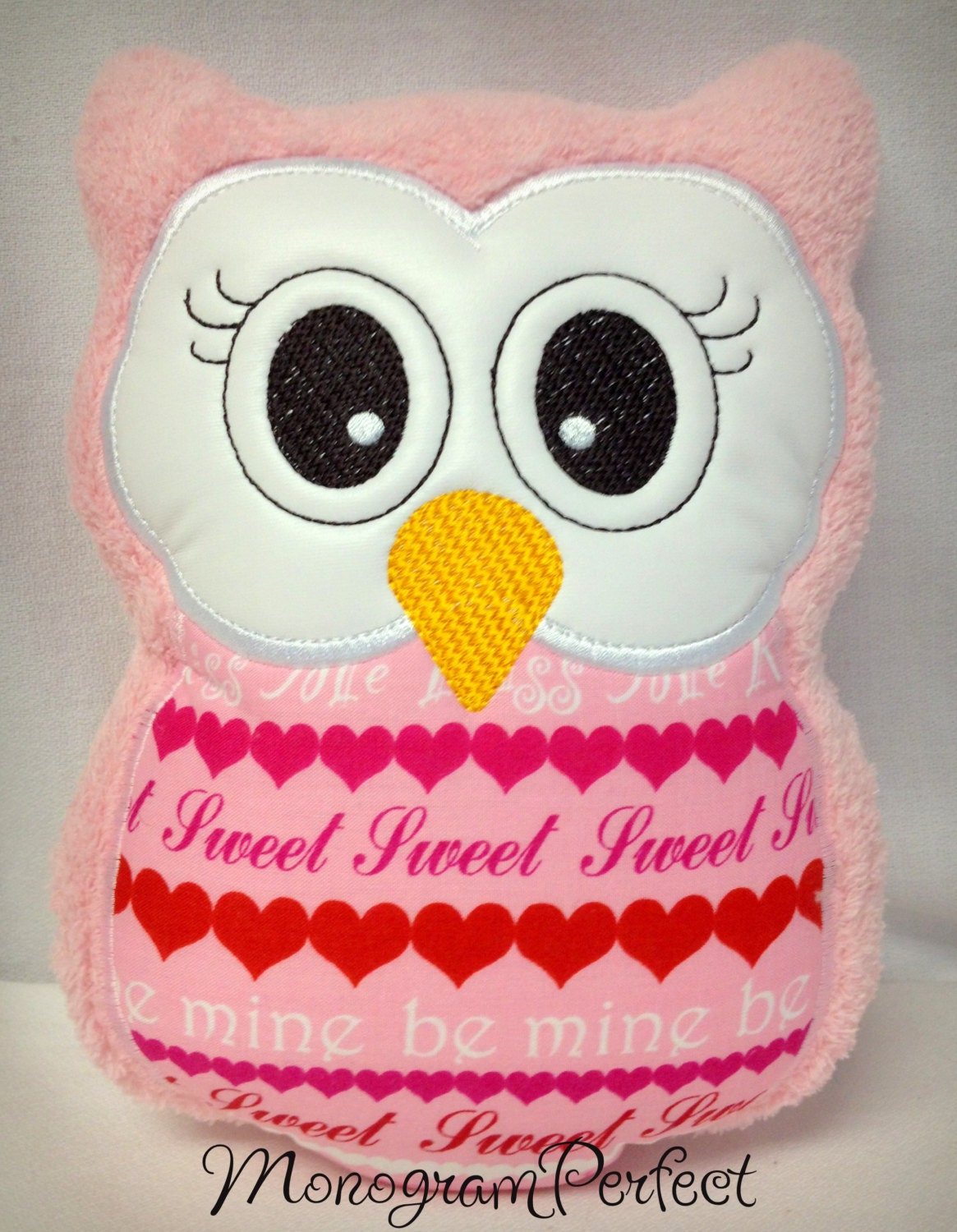 Valentine s Day Stuffed Owl Pillow Soft Toy by MonogramPerfect