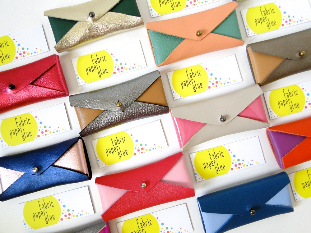 Mini Leather Card Holders by Fabric Paper Glue