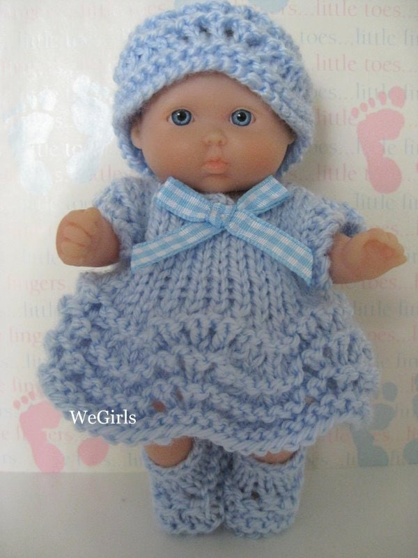 How To Knitting Patterns For Beginners : Knit Pattern Cute Dress Set for 5 inch Berenguer itty by WeGirls