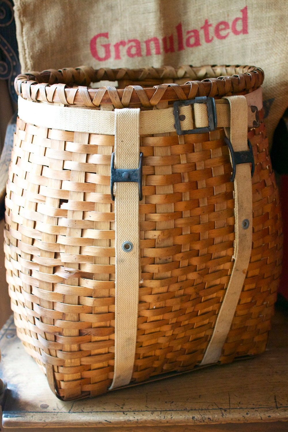 Woven Wood Trapper Backpack Basket Adirondack Nantucket By