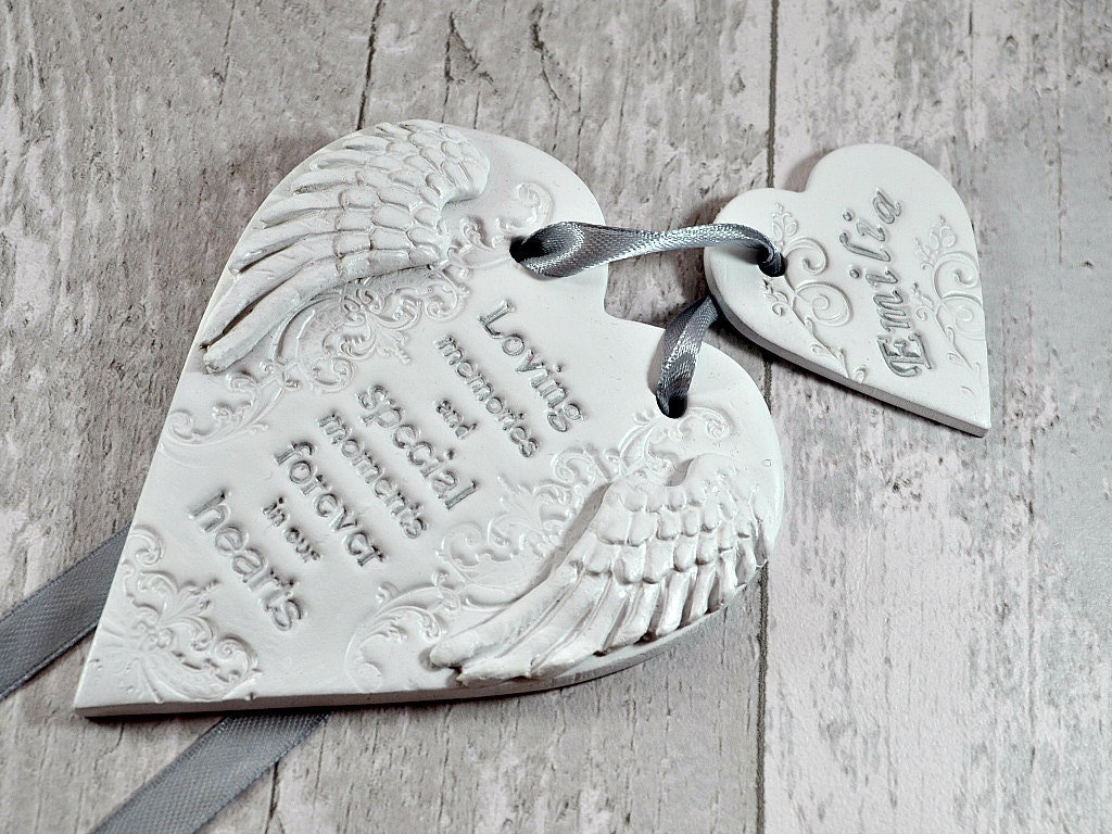 Remembrance gift in loving memory of loved one in heaven Lost loved ones Forever in our hearts Custom memorial ornament with angel wings