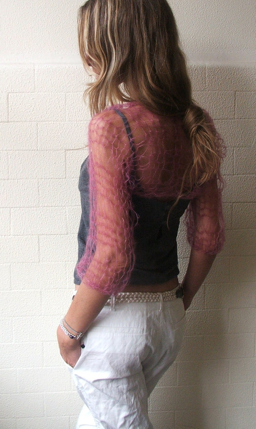 pink blush summer loose weave shrug