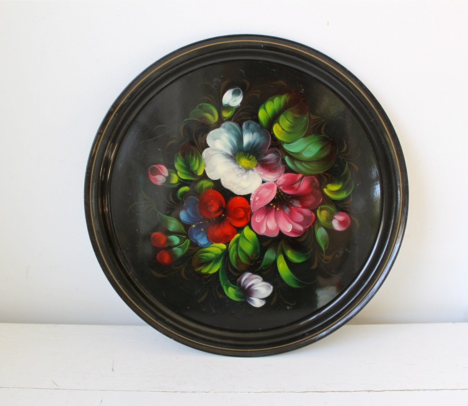 vintage 1980s handpainted serving tray, Russian